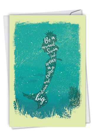 Stylish Birthday Paper Greeting Card From NobleWorksCards.com - Mermaid Quotes - Swim Fast