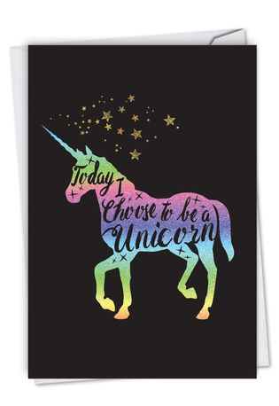 Stylish Birthday Card From NobleWorksCards.com - Horns and Unicorns - Choose To Be
