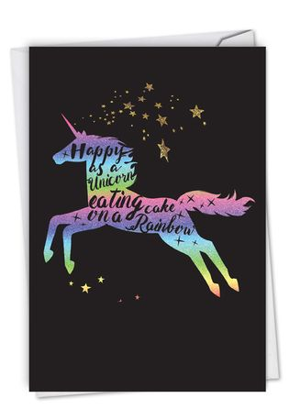 Creative Birthday Greeting Card From NobleWorksCards.com - Horns and Unicorns - Rainbow Cake