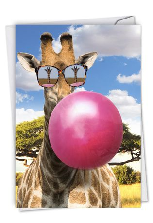 Stylish Birthday Paper Card From NobleWorksCards.com - Balloon Animals - Giraffe