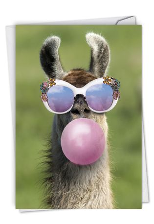 Creative Birthday Printed Card From NobleWorksCards.com - Balloon Animals - Llama