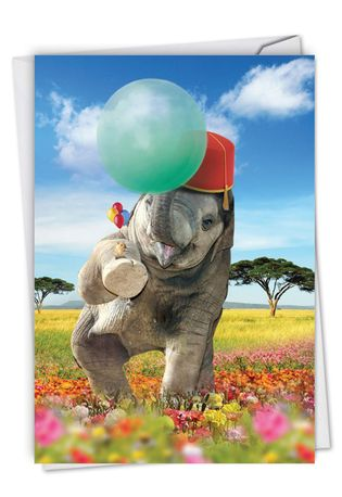 Stylish Birthday Paper Greeting Card From NobleWorksCards.com - Balloon Animals - Elephant