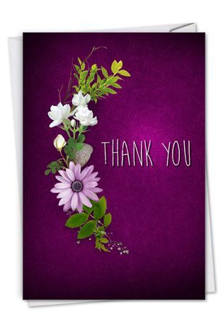 Creative Thank You Greeting Card From NobleWorksCards.com - Many Thanks - Purple