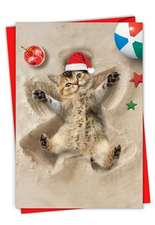 Creative Merry Christmas Greeting Card From NobleWorksCards.com - Holiday Sand Angels - Cat