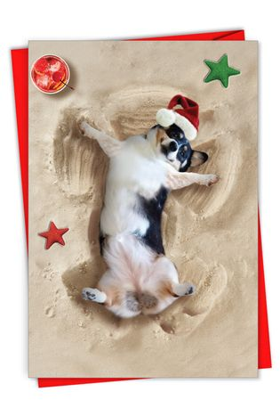 Creative Merry Christmas Printed Card From NobleWorksCards.com - Holiday Sand Angels - Dog