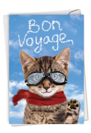 Funny Bon Voyage Paper Card From NobleWorksCards.com - Goodbye Cat