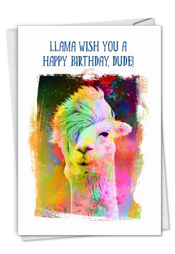 Funky Rainbow Llamas: Stylish Birthday Paper Greeting Card