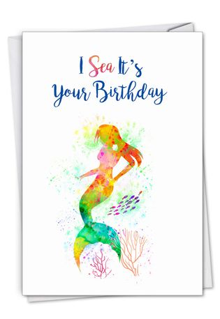 Stylish Birthday Card From NobleWorksCards.com - Funky Rainbow Mermaids