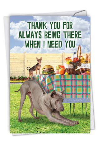 Funny Thank You Card By Kerry Swope From NobleWorksCards.com - Dog Assistance