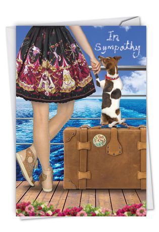 Stylish Sympathy Paper Card From NobleWorksCards.com - Dog and Friend