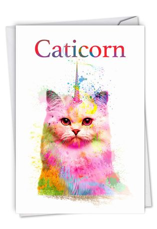 Creative Birthday Printed Card From NobleWorksCards.com - Caticorn