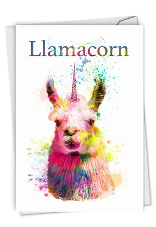 Stylish Birthday Paper Greeting Card From NobleWorksCards.com - Llamacorn