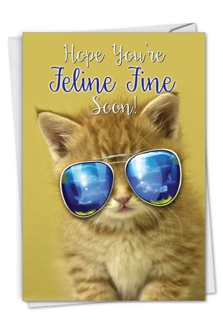 Stylish Get Well Paper Greeting Card From NobleWorksCards.com - Kool Kitties - Orange
