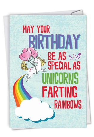 Hilarious Birthday Printed Greeting Card From NobleWorksCards.com - Unicorns and Rainbows