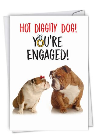 Engaged Dogs: Humorous Engagement Paper Greeting Card