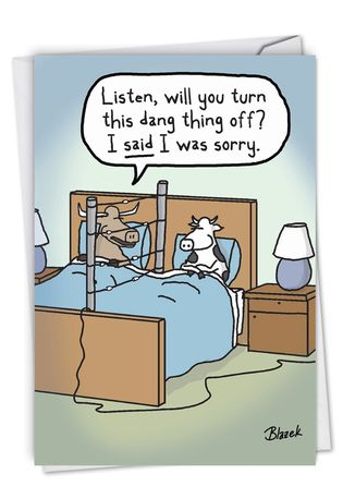 Cow Fence: Humorous Sorry Card