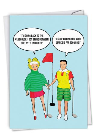 Funny Birthday Paper Greeting Card By Kirsty Hotson From NobleWorksCards.com - Stung Between Holes