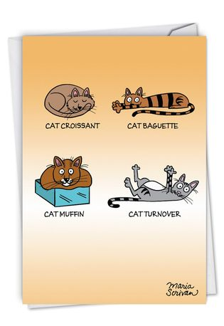 Hilarious Birthday Printed Card By Maria Scrivan From NobleWorksCards.com - Cat Food