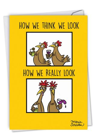 Humorous Birthday Paper Greeting Card By Maria Scrivan From NobleWorksCards.com - How We Look