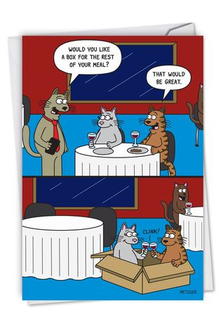 Humorous Anniversary Card By Scott Metzger From NobleWorksCards.com - Cat Box