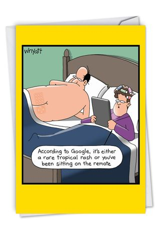 Hysterical Anniversary Printed Greeting Card By Tim Whyatt From NobleWorksCards.com - Remote Rash