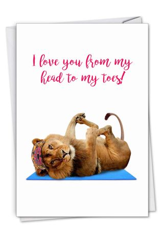 Stylish Birthday Paper Greeting Card From NobleWorksCards.com - Wildlife Yoga - Lion