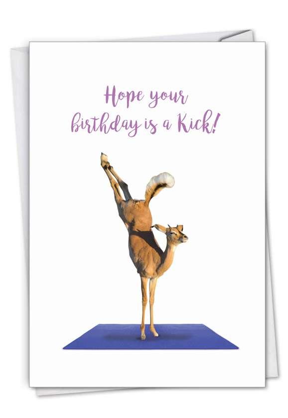 Stylish Birthday Card From NobleWorksCards.com - Wildlife Yoga - Antelope