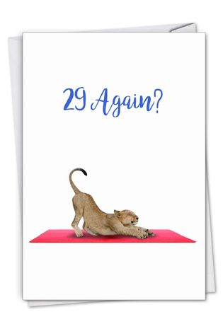 Creative Birthday Greeting Card From NobleWorksCards.com - Wildlife Yoga - Lioness