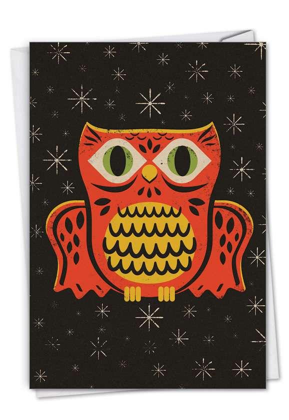 Creative Halloween Printed Greeting Card By Steve Mack From NobleWorksCards.com - Halloween Masks - Owl