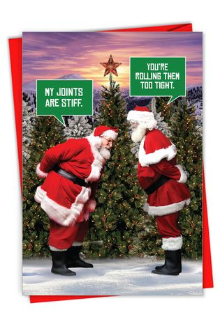 Humorous Merry Christmas Paper Card From NobleWorksCards.com - Santa Stiff Joints