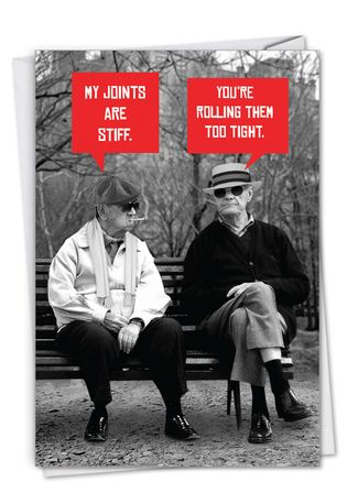 Funny Birthday Paper Greeting Card From NobleWorksCards.com - Men Stiff Joints