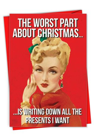 Hilarious Merry Christmas Printed Greeting Card From NobleWorksCards.com - Worst Part
