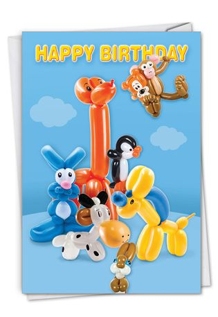 Stylish Birthday Paper Card From NobleWorksCards.com - Balloon Babies