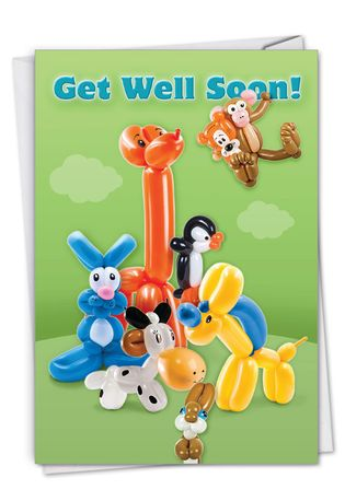 Creative Get Well Printed Card From NobleWorksCards.com - Balloon Babies
