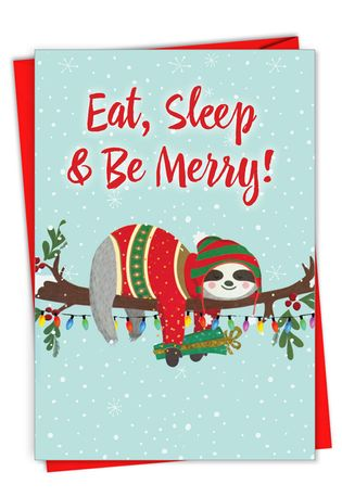 Hilarious Merry Christmas Printed Card From NobleWorksCards.com - Eat, Sleep and Be Merry