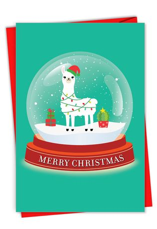 Hilarious Merry Christmas Greeting Card From NobleWorksCards.com - Llama Snowglobe