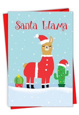 Hysterical Merry Christmas Printed Card From NobleWorksCards.com - Santa Llama