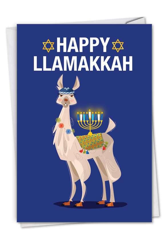 Hilarious Hanukkah Printed Greeting Card From NobleWorksCards.com - Llamakkah