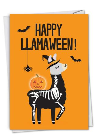 Hysterical Halloween Greeting Card From NobleWorksCards.com - Llamaween