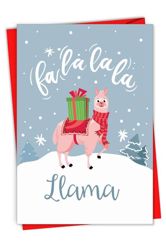 Funny Merry Christmas Paper Card From NobleWorksCards.com - Fa La La La Llama