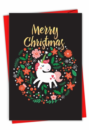 Humorous Merry Christmas Paper Card From NobleWorksCards.com - Holiday Unicorn