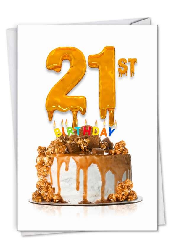 Stylish Milestone Birthday Paper Card From NobleWorksCards.com - Big Day 21