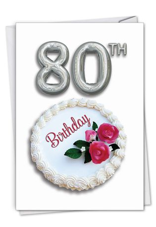 Stylish Milestone Birthday Paper Card From NobleWorksCards.com - Big Day 80