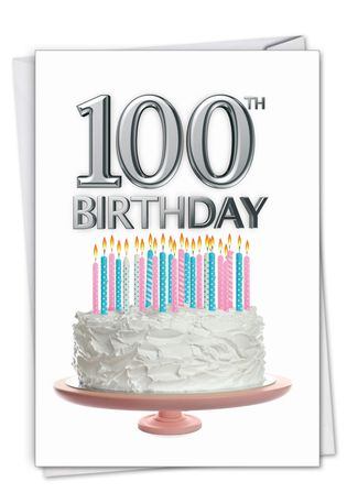 Stylish Milestone Birthday Paper Greeting Card From NobleWorksCards.com - Big Day 100