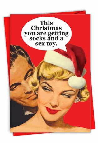 Funny Merry Christmas Paper Greeting Card From NobleWorksCards.com - Socks and Sex Toy