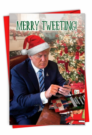 Funny Merry Christmas Paper Card From NobleWorksCards.com - Merry Tweeting