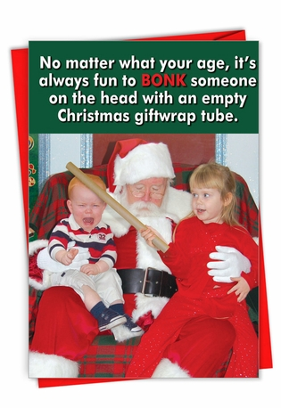 Funny Merry Christmas Card From NobleWorksCards.com - Giftwrap Tube