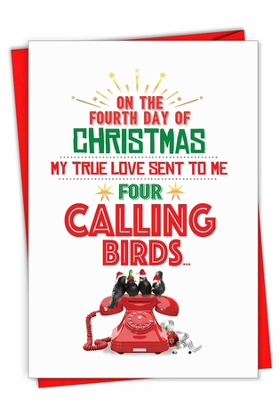 Humorous Merry Christmas Paper Card From NobleWorksCards.com - Four Calling Birds