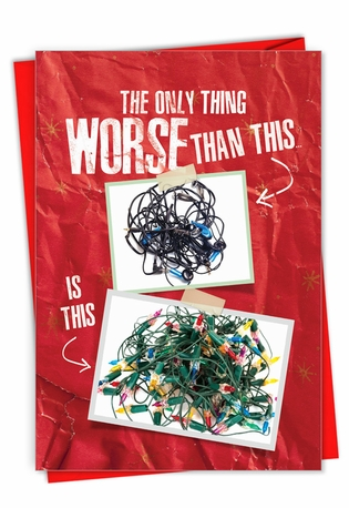 Funny Merry Christmas Paper Card From NobleWorksCards.com - Tangled Wires
