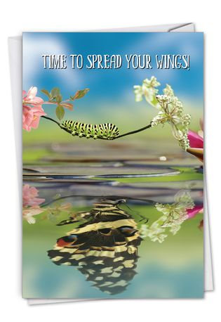 Stylish Graduation Paper Greeting Card From NobleWorksCards.com - Aspirations - Caterpillar